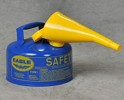 Safety Cans - Eagle 2 Gallon Blue Type I Safety Can with F-15 Funnel - SAFETY-EG-UI-20-FSB
