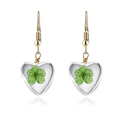 Emorias 1set Boucles d'oreilles de Simple Cratif Pampille Verre Transparente en Forme de Coeur Pendentif  Temprament Frais Vacances des Accessoires(Violet) Grn