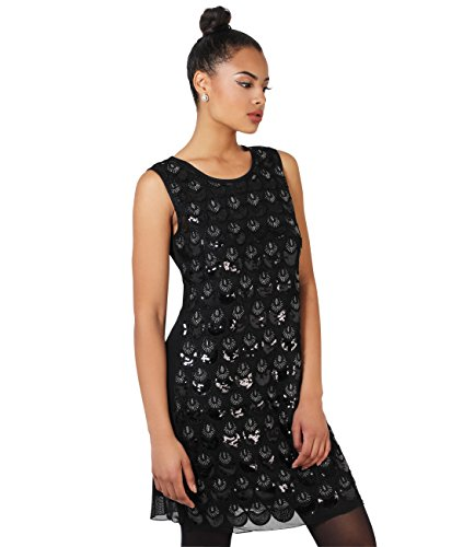 Embroidered & Sequined Shift Dress (4229-BLK-SM) (Gatsby 1920s Dress)
