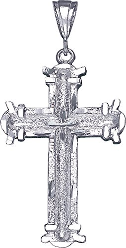 Jesus Sterling Silver Charm (Large Sterling Silver Cross without Jesus Pendant Necklace with Diamond Cut Finish (Without Chain))
