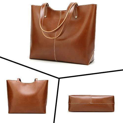 Handle Designer Large and Handbags A PU Ladies Handbags brown Bag Leather Satchel Womens Capacity QUEENTOO Purses Top Shoulder Tote qBZBvO