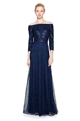 Tadashi Shoji Women's Off The Shoulder Embroidered Gown, Navy, 14 ()