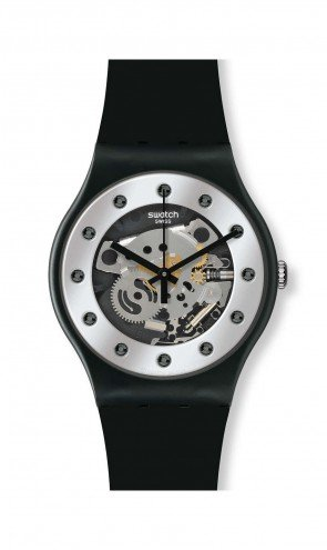 Swatch Unisex SUOZ147 Silver Glam Analog Display Quartz Black - Mens Swatch
