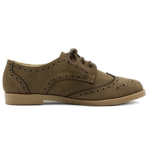 Flat Ollio Nubuck Women's Lace Wingtip Taupe Shoe Faux Up Oxford 57Bnxwa7