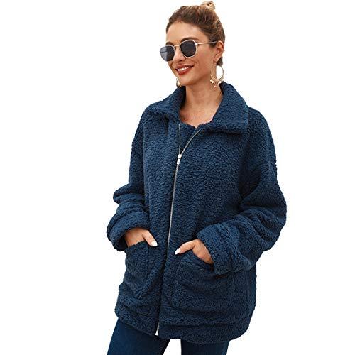 NSBS Women Coat Winter Casual Lapel Fleece Shaggy Fuzzy Jacket Zipper Up Faux Fur Shearling Jackets Coat Outwear
