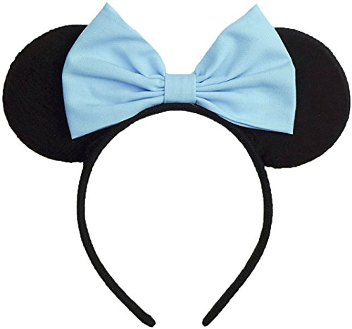 Minnie Mouse Ears Inspired Light Blue Hair Bow Headband Women Mickey Birthday Party Theme Outfit by Sweet in the City -