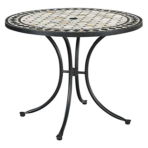 Home Styles 5605-30 Laguna Outdoor Marble Patio Dining Table with Round Top, 39 Black