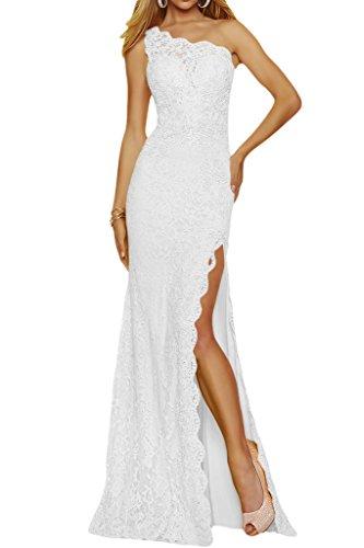 Schlitz Schulter Spitze Weiß Lang Abendkleid Promkleid Damen Partykleid Ivydressing Ein tHvAwnx
