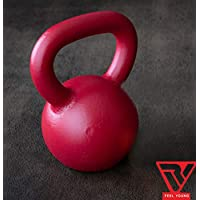 RV Red Powder Coated Solid Cast Iron Kettlebell Weights (Weight 2KG)