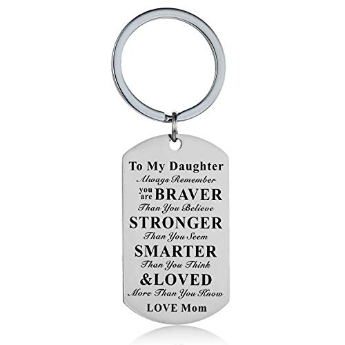 Inspirational Keychain to My Son Daughter Gifts Jewelry from Mom Dad Mother Father to My Kids Children Gifts (Mom to Daughter Keychain)