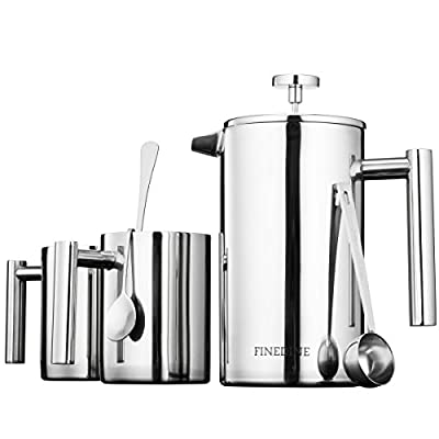 Premium 18/8 Stainless Steel French Press Coffee Maker Triple Filtered, Exclusive Classic 5 Piece Set, With 2 Modern Double Wall Stainless Steel Coffee Mugs, Spoon, Measuring Scoop, Bonus Filter 34 Oz