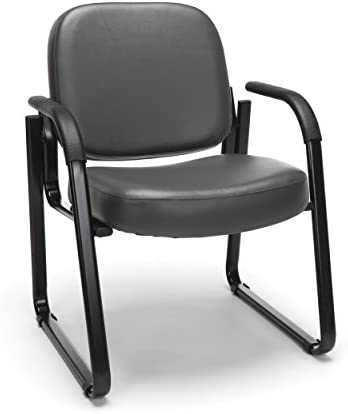 OFM Reception Chair with Arms – Anti-Microbial Anti-Bacterial Vinyl Guest Chair, Charcoal