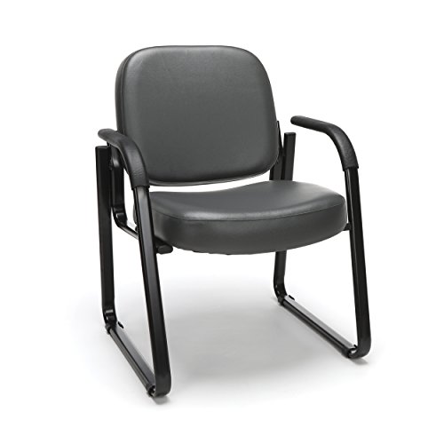 OFM Reception Chair with Arms - Anti-Microbial/Anti-Bacterial Vinyl Guest Chair, Charcoal (403-VAM)