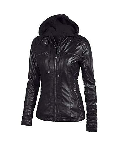 Collar Casual Negro con Capucha Mujeres Cremallera Chaqueta Quge con Escudo Fitted 6nxqB7wf5