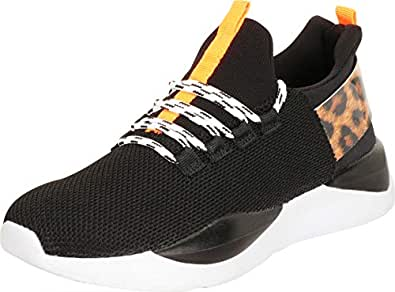 Cambridge Select Women's Low Top Lightweight Knit Mesh Colorblock Lace-Up Casual Sport Fashion Sneaker Black Size: 6