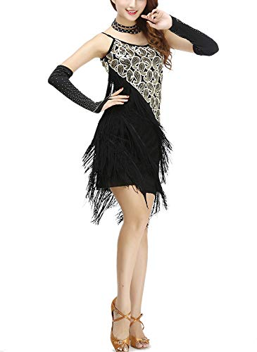 Paisley Great Gatsby Charleston Inspired Style Cocktail Halloween Costumes Dress Black/Gold -