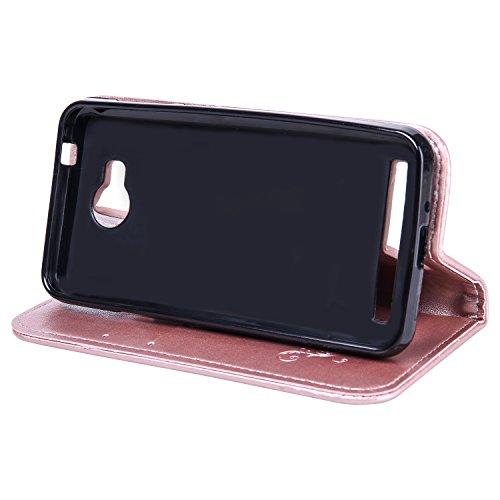 Funda Huawei Y3 II / Y3 2 Case, Ecoway pintado modelado Embossing Cuero PU Función Stand Fundas protectoras con tarjeta Slot Holder Carpeta de diseño de libro Desmontable correa de mano Función de Sop oro rosa