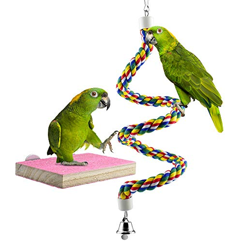 KATUMO Bird Parrot Toys, Bird Perches Stand Wood Playground Paw Grinding Rope Bungee Bird Exercise Parrot Cage Toys…