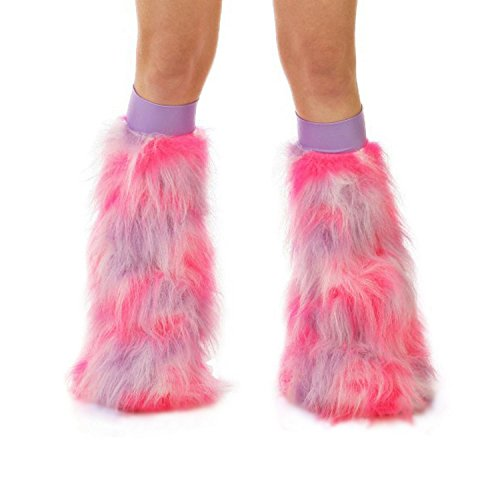 TrYptiX Women's Fluffy Leg Warmers Hot Pink White and Lilac w/ Lilac Kneebands (One Size, Lilac (Pink Fluffies Leg Warmers)