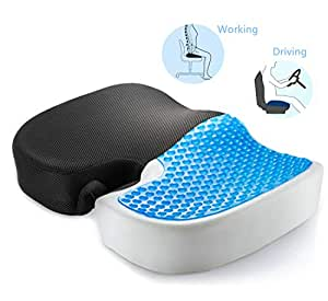 Cool Gel Enhanced Memory Foam Seat Cushion for Office Chair, Tailbone Pain Back Pain Relieve Cushion Car Seat Cushion Pad - Ergonomic Design for Coccyx Comfort & Sciatica Relief (Non-Slip)