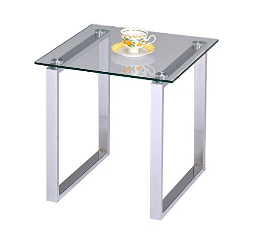 Pilaster Designs - Modern Design Chrome Finish With Glass Top End Table by Pilaster Designs