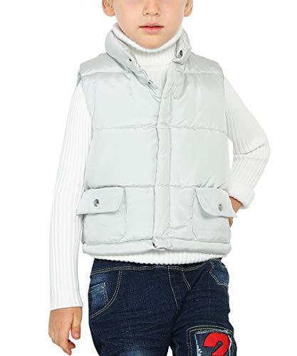 (Happy Cherry Kids Sleeveless Coat Thicken Warm Cotton Puffer Padded Uniform Quilted Jacket Vest 4-5T Grey)