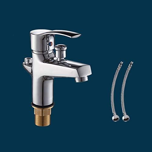 バルブノズルデッキをミキシングハンドヘルドシャワーヘッド温水と冷水と流域の蛇口セット浴室バスタブのシャワーの蛇口をマウント (Color : Faucet with Hose)
