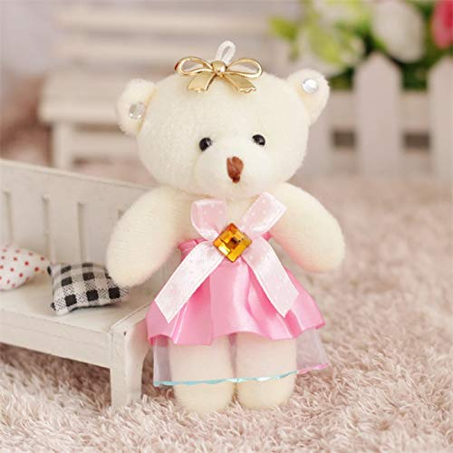 Coiny Bebe 12pcs/lot Flower Bouquets Teddy Bear Small Model Cotton Plush Toys 12CM Dress Party Wedding Accessory Doll Bear Pink