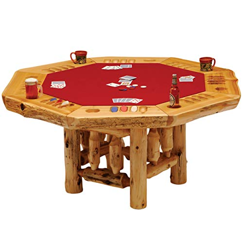 8-Sided Cedar Log Poker Table - Armor Finish Top - Optional Dining Table Cover in 3 finishes