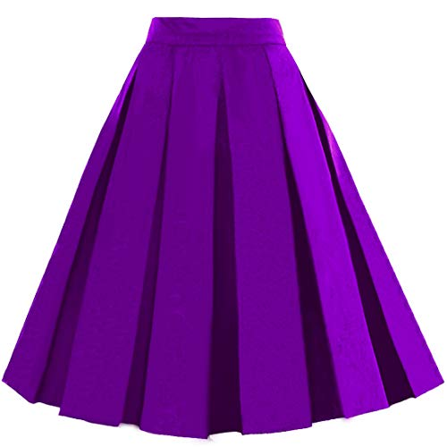 Dressever Women's Vintage A-line Printed Pleated Flared Midi Skirt Purple XX-Large