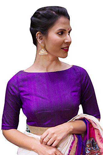 Women's Party Wear Readymade Bollywood Designer Indian Style Padded Blouse for Saree Crop Top Choli Purple (Indian Sarees Blouse)