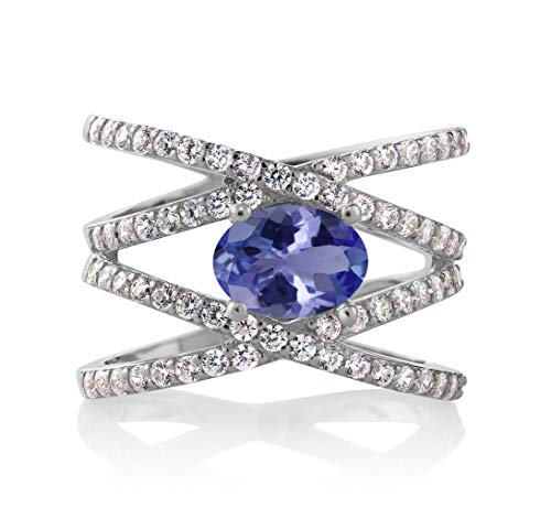 8x6 Oval Ring - Gem Stone King 930 Sterling Silver Blue Tanzanite Women's Criss Cross Ring 2.09 cttw 8x6mm Oval Center (Size 9)