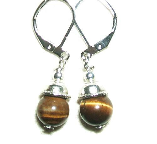 TIGER EYE Earrings STRENGTH BALANCE VITALITY Metaphysical Silver Pltd Leverbacks
