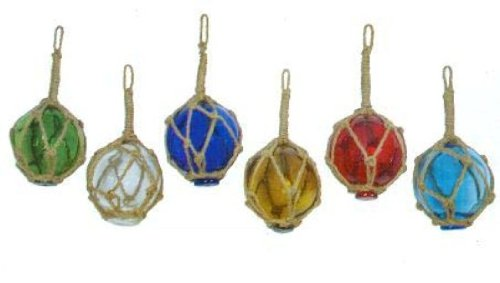 Japanese Glass Fishing Floats Fish Net Buoys Miniature Set of 6 (Glass Float Ball)