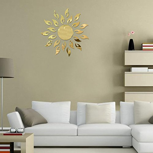 Iusun Modern Fashion 3D Mirrors Sun Flower Wall Sticker Art Decal Bell Home Decor (Bell Gold Stickers)