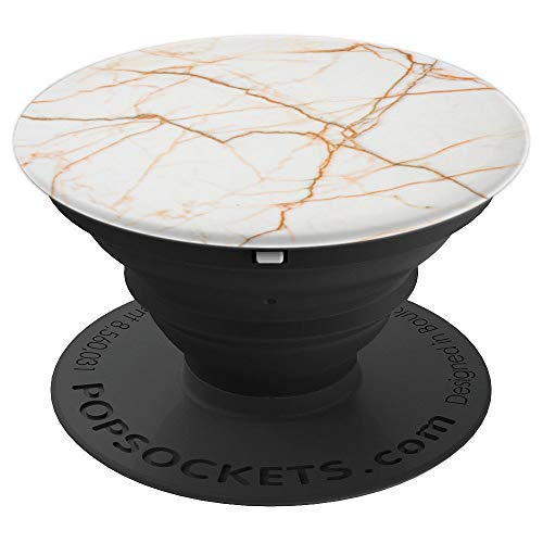 White Light Orange Marble - PopSockets Grip and Stand for Phones and Tablets ()