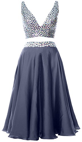 MACloth Women 2 Piece Short Prom Dress 2017 Straps V Neck Cocktail Formal Gown Steel Blue
