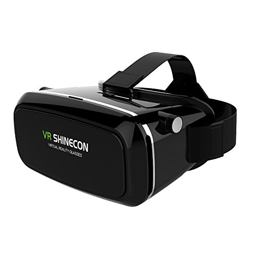 "VR SHINECON Virtual Reality Glasses Headset for 3D Videos Movies Games Compatible with Most 3.5""-6.0"" iPhone, Samsung, HTC, LG, Sony, Moto Smartphone (Black)"