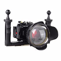 EACHSHOT 40M/130f Underwater Waterproof Camera Housing Diving Case for Sony DSC RX100 IV RX100 M4 + Red Filter 67mm + 67mm Fisheye Lens + Two Hands Aluminium Tray