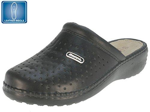 Beppi Damen Clogs für Die Arbeit Freizeitschuh Hausschuhe Damenschuh Arbeitsschuhe mit Lederinnensohle und Tollem Fußbett Schwarz