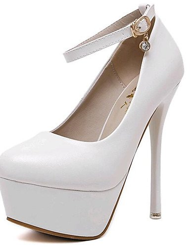 Tacones Semicuero Tacones cn39 white cn33 us4 5 2 eu39 Mujer Stiletto us8 uk6 Fiesta cn39 black y uk6 eu39 Blanco eu34 5 4 Noche Tacón white uk2 us8 GGX Negro Rq8BtB