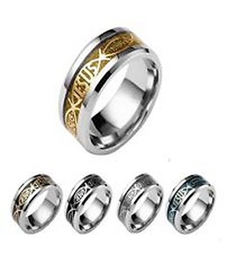 YD Jewels - Classic Size 8 JESUS Letter Titanium Steel Inlay Rings For Men And Women ()