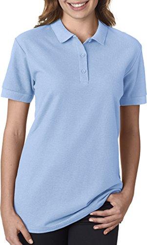 Gildan - Ladies Premium Cotton Double Pique Polo Shirt - 82800L-Light Blue-S Double Pique Polo Shirt