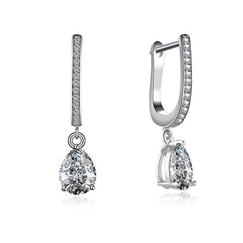 fd7d1bf58 Carleen Sterling Silver Sparkling AAA Quality CZ Cubic Zirconia Dangle Tear  Drop Hoop Earrings for Women