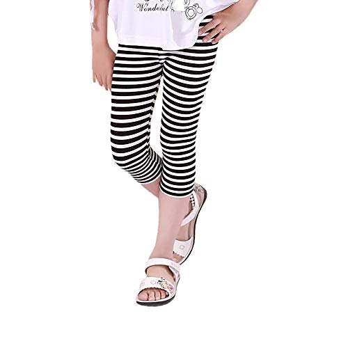 Hello Bee Capri Leggings Grils Leggings Knit Cotton Leggings for Toddler Girls/Little Girls(Black/Black&White Stripe) (White Black Stripe, 6T)