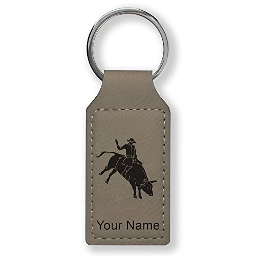 (Rectangle Keychain, Bull Rider Cowboy, Personalized Engraving Included (Gray))