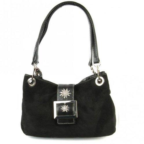 Trachtentasche Dirndltasche mit Edelweiss Veloursleder TA 30150 schwarz