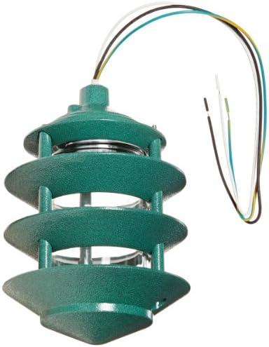 RAB Lighting LL22VG Incandescent 4 Tier Lawn Light, A-19 Type, 100W Power, 1650 Lumens, 120VAC, Verde Green