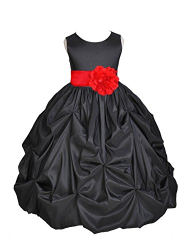 Wedding Pageant Black Bubble Pick-up Toddler Taffeta Flower Girl Dress 301s 8 (Bubble Taffeta Red)