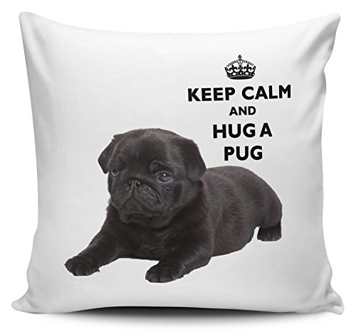 Keep Calm and Hug A Pug Black Decorative Pillow Covers for Couch Canvas Cushion Case 18 x 18